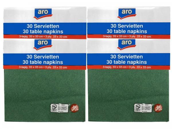 N9090 aro Servietten grün 33x33cm (4x30er)