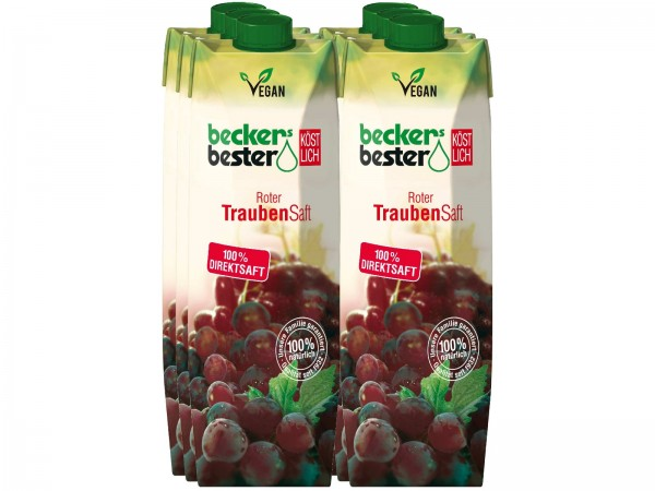 S2295 becker Traubensaft Rot 6 x 1,0l