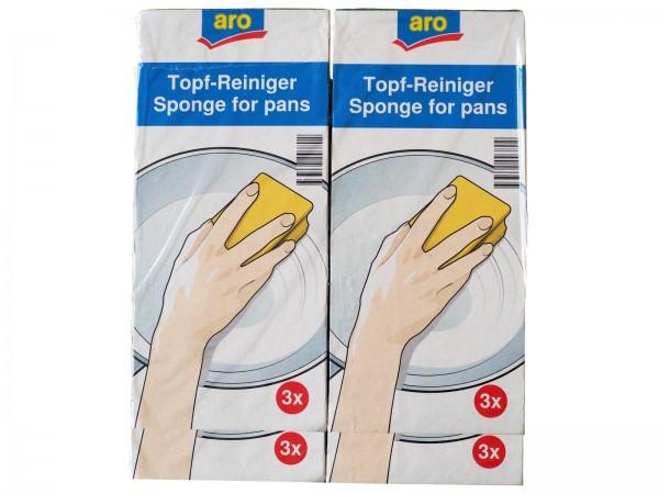 N6660 aro Topfreinigerschwämme mit Griff (4 x 3er)
